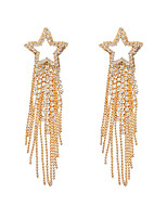 cheap -Women's 925 Silver Needle Exaggerated Five-pointed Star Long Tassel Earrings Temperament Online Celebrity Super Flash Diamond Earrings 1 pair