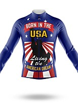 cheap -21Grams Men's Long Sleeve Cycling Jersey Spandex Polyester Royal Blue American / USA Funny Bike Top Mountain Bike MTB Road Bike Cycling Quick Dry Moisture Wicking Breathable Sports Clothing Apparel