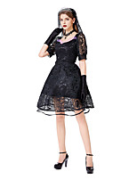 cheap -Witch Uniforms Dress Cosplay Costume Adults' Women's Dresses Halloween Halloween Halloween Festival / Holiday Lace Terylene Black Women's Easy Carnival Costumes Solid Color Lace Printing / Gloves