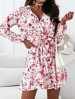 cheap -Women's A Line Dress Short Mini Dress Blue Purple Blushing Pink White Long Sleeve Floral Print Fall V Neck Casual 2021 S M L XL XXL