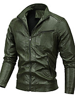 cheap -Men's Hiking Jacket Faux Leather Jacket Hiking Windbreaker Cotton Winter Outdoor Solid Color Thermal Warm Windproof Lightweight Outerwear Trench Coat Top Full Length Visible Zipper Skiing Ski