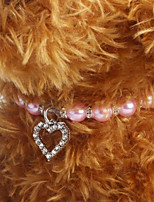 cheap -Fancy Engraved Crystal Heart Pet Cat Dog Necklace Jewelry with Bling Pearls Rhinestones Charm Pendant for Pets Cats Small Dogs Female Puppy Chihuahua Yorkie Girl Costume Outfits