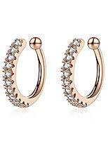 cheap -ear cuff for women cubic zirconia hoop adjustable clip on earring non piercing earrings jewelry gift  (rose gold 2pcs-d)