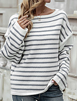 cheap -Women's Pullover Sweater Knitted Striped Stylish Casual Soft Long Sleeve Sweater Cardigans Crew Neck Fall Winter White