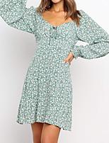 cheap -Women's A Line Dress Short Mini Dress Green Long Sleeve Floral Print Spring V Neck Casual Boho Puff Sleeve 2021 S M L XL