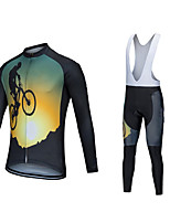 cheap -CAWANFLY Men's Long Sleeve Cycling Jersey with Bib Tights Polyester Black / Yellow Geometic Funny Bike Clothing Suit Breathable Sweat wicking Sports Geometic Mountain Bike MTB Road Bike Cycling