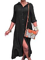 cheap -Women's Shirt Dress Maxi long Dress Gray Black 3/4 Length Sleeve Solid Color Split Fall Shirt Collar Casual Regular Fit 2021 S M L XL XXL