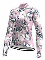 cheap -21Grams Women's Long Sleeve Cycling Jersey Spandex Polyester Pink Floral Botanical Funny Bike Top Mountain Bike MTB Road Bike Cycling Quick Dry Moisture Wicking Breathable Sports Clothing Apparel