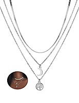 cheap -boho layered necklace silver tree pendant necklace moon pendant clavicle chain flat neck chain jewelry for women and girls