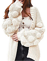 cheap -Women's Cardigan Sweater Knitted Solid Color Stylish Basic Casual Long Sleeve Sweater Cardigans Open Front Fall Winter Yellow Army Green Gray