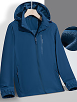 cheap -Men's Hoodie Jacket Hiking Windbreaker Hiking Fleece Jacket Elastane Winter Outdoor Solid Color Thermal Warm Waterproof Windproof Fleece Lining Outerwear Trench Coat Top Full Length Visible Zipper