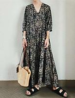 cheap -Women's Shift Dress Maxi long Dress Black 3/4 Length Sleeve Floral Print Fall V Neck Casual 2021 M L XL XXL