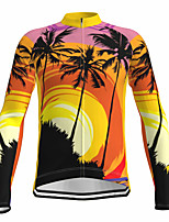 cheap -21Grams Men's Long Sleeve Cycling Jersey Spandex Polyester Yellow Funny Palm Tree Bike Top Mountain Bike MTB Road Bike Cycling Quick Dry Moisture Wicking Breathable Sports Clothing Apparel