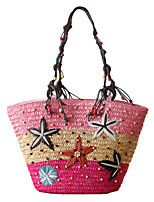 cheap -Women's Bags Straw Straw Bag Solid Color Daily Office & Career Retro Straw Bag Blue Blushing Pink Green