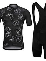 cheap -21Grams Men's Short Sleeve Cycling Jersey with Bib Shorts Summer Spandex Polyester Black Floral Botanical Funny Bike Clothing Suit 3D Pad Quick Dry Moisture Wicking Breathable Back Pocket Sports