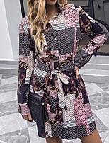 cheap -Women's Shirt Dress Short Mini Dress Blushing Pink Long Sleeve Multi Color Bowknot Print Spring Summer Collar Bohemian Style Active Casual 2021 S M L XL