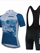 cheap -CAWANFLY Men's Short Sleeve Cycling Jersey with Bib Shorts Cycling Jersey with Shorts Summer Bule / Black Purple Black+White Bike Sports Geometic Mountain Bike MTB Road Bike Cycling Clothing Apparel