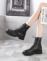 cheap -Women's Boots Block Heel Round Toe Booties Ankle Boots Daily Canvas PU Solid Colored Black / Knee High Boots