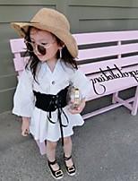 cheap -girls elastic belt white dress kids puff sleeve shirt dresses lady style children cotton clothing a4517