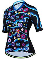 cheap -21Grams Women's Short Sleeve Cycling Jersey Summer Spandex Polyester Black Floral Botanical Funny Bike Top Mountain Bike MTB Road Bike Cycling Quick Dry Moisture Wicking Breathable Sports Clothing