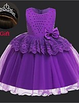 cheap -girl's dresses lace toddler girls dress with beading bithday party ball gown fancy princess fluffy tulle bow floral vestido