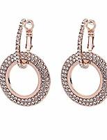cheap -earrings for women mom women fashion rhinestone double circle hoop huggie earrings party jewelry charm statement jewelry - rose gold
