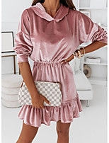 cheap -Women's A Line Dress Short Mini Dress Blushing Pink Black Apricot Long Sleeve Solid Color Modern Style Fall Winter V Neck Casual 2021 S M L XL