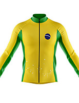 cheap -21Grams Men's Long Sleeve Cycling Jersey Spandex Yellow Color Block Stars Bike Top Mountain Bike MTB Road Bike Cycling Quick Dry Moisture Wicking Sports Clothing Apparel / Athleisure