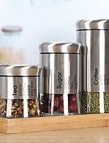 cheap -Kitchen Stainless Steel Storage Jar Glass Sealed Bottle Dry Goods Medicine Sealed Tea Food Storage Tank