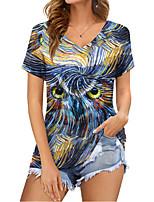 cheap -Women's Geometric T shirt Animal Print V Neck Basic Tops Blue