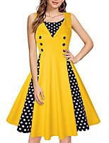 cheap -Women's A Line Dress Knee Length Dress Yellow Wine Fuchsia Black Red Navy Blue Light Blue Sleeveless Polka Dot Patchwork Button Print Fall Summer Round Neck Casual Vintage 2021 S M L XL XXL 3XL 4XL