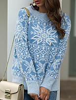 cheap -Women's Pullover Sweater Knitted Argyle Stylish Christmas Long Sleeve Sweater Cardigans Crew Neck Fall Winter Blue Blushing Pink Khaki / Going out