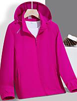 cheap -Women's Hoodie Jacket Hiking Jacket Hiking Windbreaker Nylon Elastane Outdoor Solid Color Thermal Warm Waterproof Windproof Quick Dry Outerwear Trench Coat Top Skiing Ski / Snowboard Fishing Light