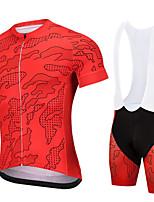 cheap -CAWANFLY Men's Short Sleeve Cycling Jersey with Bib Shorts Summer Red / White Bike Sports Geometic Mountain Bike MTB Road Bike Cycling Clothing Apparel / Micro-elastic / Athleisure / Triathlon