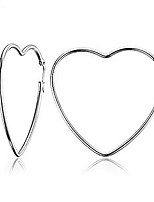 cheap -silver heart hoop earrings for women - stainless steel tube heart shaped hoop earrings for shopping, dating and daily wear (50mm+70mm)
