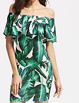 cheap -Women's Sheath Dress Short Mini Dress Green Sleeveless Leaf Layered Ruffle Spring Summer Off Shoulder Active Casual Canvas Bag S M L XL