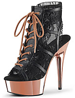cheap -Women's Boots Stiletto Heel Open Toe Booties Ankle Boots Party Wedding PU Lace-up Champagne Black