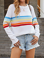 cheap -Women's Sweater Knitted Color Block Stylish Long Sleeve Sweater Cardigans Crew Neck Fall Gray White Black