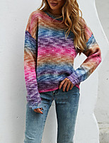 cheap -Women's Sweater Knitted Color Block Stylish Long Sleeve Sweater Cardigans Crew Neck Fall Winter Blushing Pink Green
