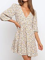 cheap -Women's A Line Dress Short Mini Dress Light Blue Long Sleeve Floral Patchwork Print Fall Spring V Neck Work Casual Boho Puff Sleeve 2021 S M L XL