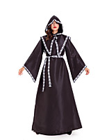 cheap -Witch Wizard Cosplay Costume Adults' Women's Halloween Halloween Halloween Festival / Holiday Terylene Black Women's Men's Couple's Easy Carnival Costumes Solid Color / Dress