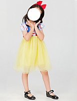 cheap -Princess Dress Cosplay Costume Kid's Girls' Halloween Christmas Halloween Christmas Halloween Children's Day Festival / Holiday Terylene Yellow+Blue Easy Carnival Costumes Solid Color / Headwear