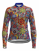 cheap -21Grams Women's Long Sleeve Cycling Jersey Spandex Polyester Red Floral Botanical Funny Bike Top Mountain Bike MTB Road Bike Cycling Quick Dry Moisture Wicking Breathable Sports Clothing Apparel