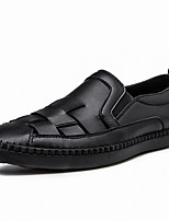cheap -Men's Loafers & Slip-Ons Comfort Loafers Crib Shoes Drive Shoes Casual Daily Cowhide Breathable Non-slipping Wear Proof Black Beige Spring Summer