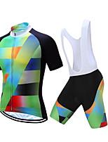 cheap -CAWANFLY Men's Short Sleeve Cycling Jersey with Bib Shorts Summer Green / Black Bike Sports Geometic Mountain Bike MTB Road Bike Cycling Clothing Apparel / Micro-elastic / Athleisure / Triathlon