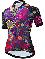 cheap -21Grams Women's Short Sleeve Cycling Jersey Summer Spandex Polyester Purple Floral Botanical Funny Bike Top Mountain Bike MTB Road Bike Cycling Quick Dry Moisture Wicking Breathable Sports Clothing