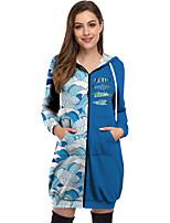 cheap -Women's Zip Up Hoodie Sweatshirt Hoodie Dress Fish Animal Zipper Front Pocket Print Casual 3D Print Basic Streetwear Hoodies Sweatshirts  Blue