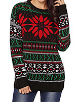 cheap -Women's Pullover Sweater Knitted Geometric Argyle Stylish Christmas Cotton Long Sleeve Sweater Cardigans Crew Neck Fall Winter Green / Going out