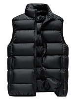 cheap -Men's Vest Sport Daily Winter Regular Coat Stand Collar Loose Thermal Warm Windproof Warm Sporty Jacket Sleeveless Solid Color Print Blue Gray Green