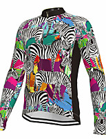 cheap -21Grams Men's Long Sleeve Cycling Jersey Spandex Polyester Green Zebra Funny Animal Bike Top Mountain Bike MTB Road Bike Cycling Quick Dry Moisture Wicking Breathable Sports Clothing Apparel
